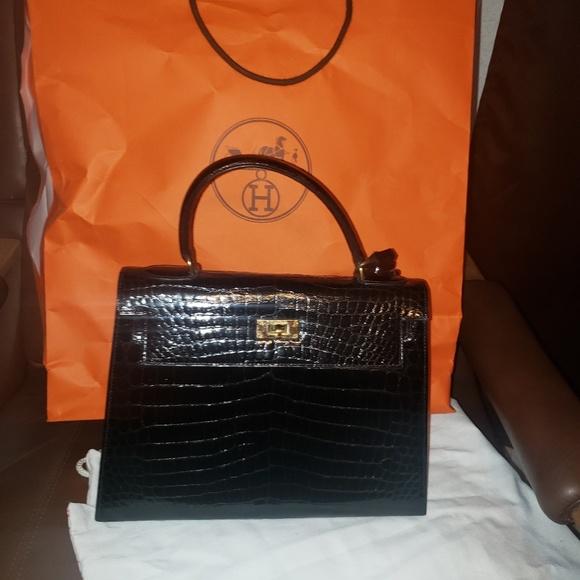 Hermes Handbags - Authentic Vintage Hermes Croc Bag Circa 1960s